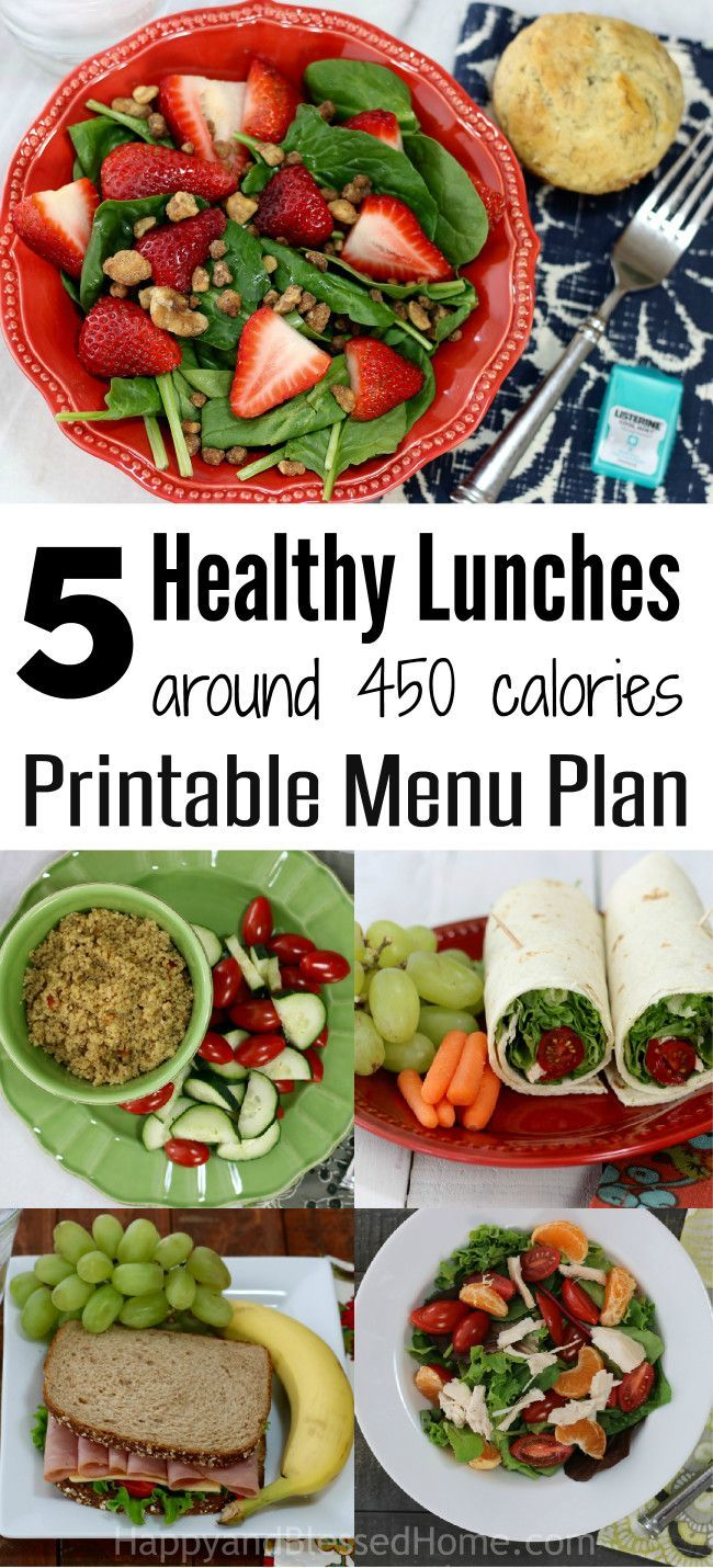 FREE Printable Menu Plan: 5 Healthy Lunches at 450 Calories each - printable lunch menu with an ingredient list, nutrition values, and directions for each meal.Strawberry Spinach Salad, Ham and Cheese Sandwich, Chicken and Mandarin Orange Salad, Couscous