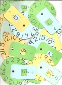 Multiplication Wheels - can easily be made with construction paper (or heavier cardstock) and brads. (The link to this site is blocked at school but you can access it from home or at the public library.)