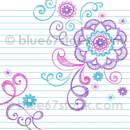 Hand-Drawn Sketchy Doodle Flowers and Swirls Vector Illustration on Lined Paper by blue67stock.com by blue67design, via Flickr