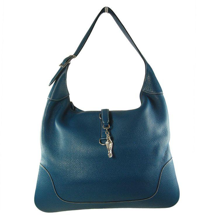 Hermes 38cm Blue Thalassa Togo Leather Trim Bag with Palladium ...