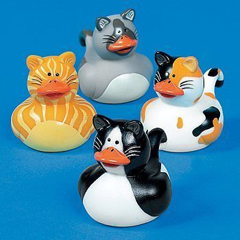 4 KITTY CAT RUBBER DUCKS KITTENS PARTY FAVORS Birthday Cake Toppers