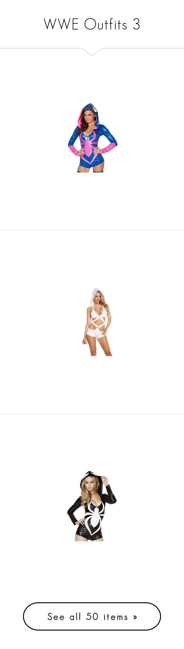 """""""WWE Outfits 3"""" by rayvrayv98 ❤ liked on Polyvore featuring jumpsuits, rompers, blue rompers, blue romper, playsuit romper, pink rompers, pink romper, dresses, hooded romper and tops"""