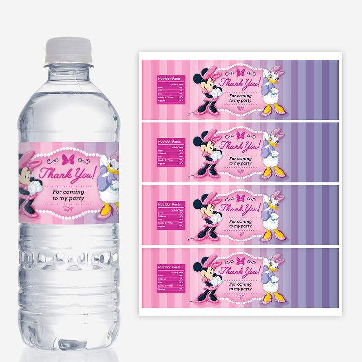 Minnie Mouse and Daisy Duck Water Bottle Labels, Printable, Birthday Party Decorations, Red Head Invites
