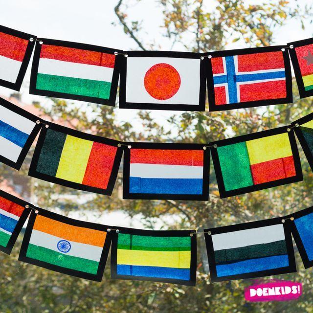 Olympische vlaggen knutselen