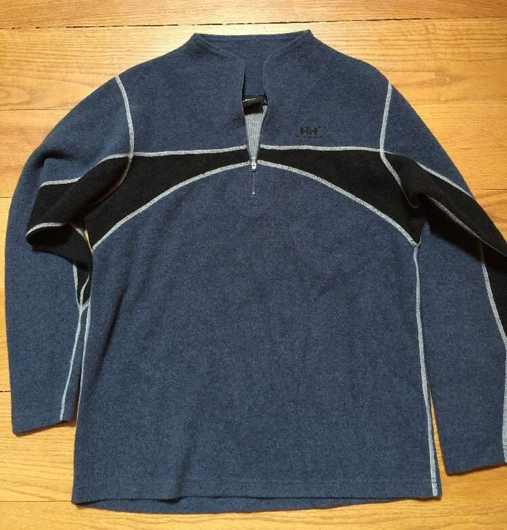 Helly Hansen Fleece Wool Polyester 1/4 Zip XL Blue Men's    eBay