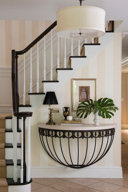 Foyer Designs Ideas foyer decorating with large mirror chandelier and white upholstered entryway bench 19 Remarkable Foyer Designs In Traditional Style