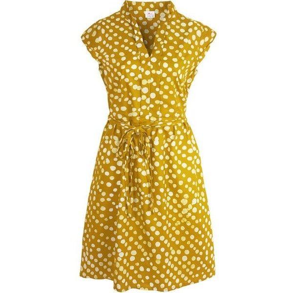 Retro Summer Dress in Mustard Batik Print ($79) ❤ liked on Polyvore featuring dresses, retro style dresses, summery dresses, batik dress, retro dresses and retro inspired dresses