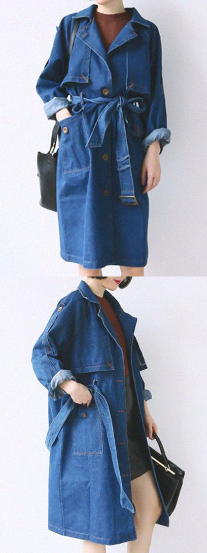 Blue Lapel Tie Waist Single Breasted Denim Trench Coat