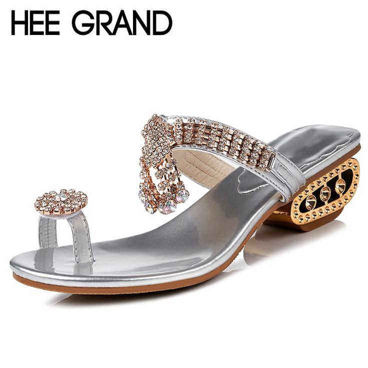 HEE GRAND Summer Slippers 2018 Bling Slides Rhinestone High Heels Slip On Casual Platform Shoes Woman Sliver Colors XWZ4736