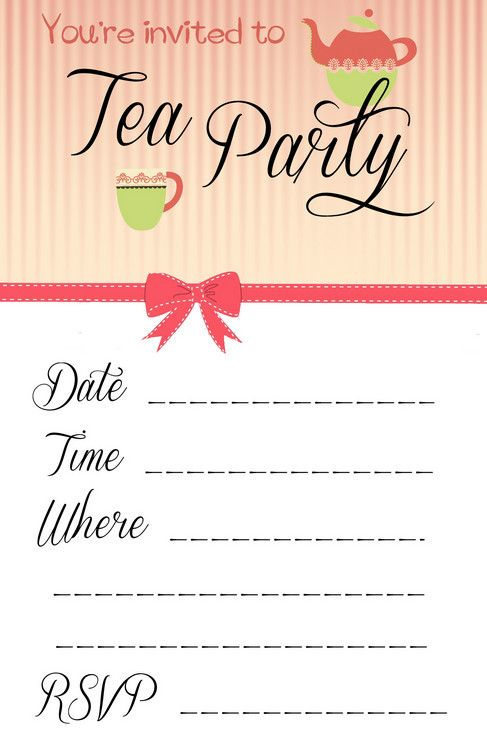 25 best Party invitation templates ideas – Tea Party Invite Template