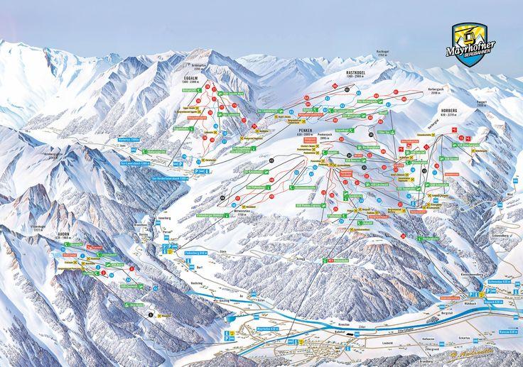 Panoramatická pohlednice Mayrhofen - Zillertal: Plán sjezdovky Mayrhofen - Zillertal - Lyže Mayrhofen - Zillertal