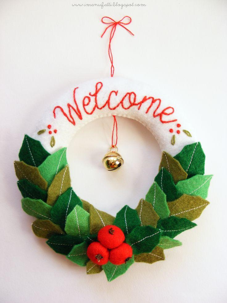 DIY Felt Christmas Wreath Tutorial and FREE Templates FREE Felt - felt christmas decorations