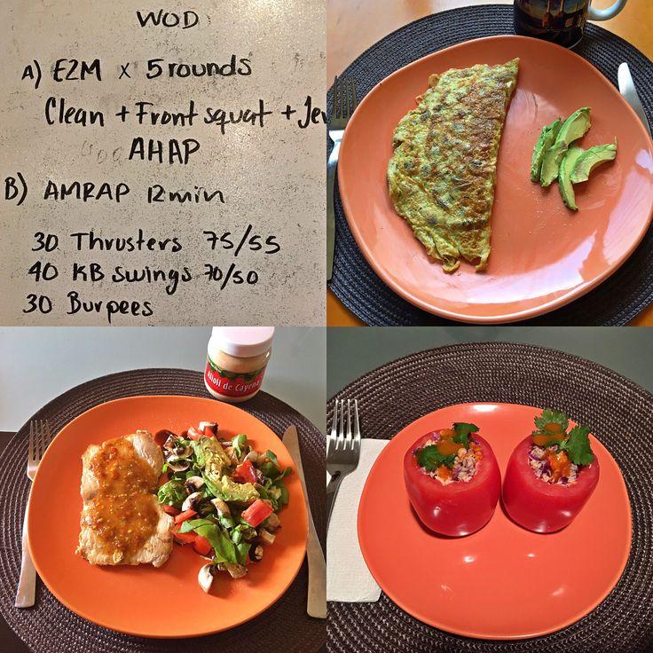 WOD: @cf_220   Desayuno: omelette de champiñones con aguacate.  Comida: lomo de cerdo con salsa de chile de árbol y ensalada mixta con aceite de aguacate y vinagre balsámico de modena. Cena: Jitomates rellenos de ensalada de salmón y col morada, aderezados con mayonesa casera de aceite de aguacate. #cambiateapaleo #paleolifestyle