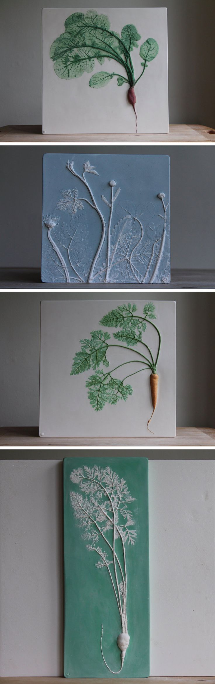 New Plaster Cast Tiles That Immortalize Flowers and Veggies by Rachel Dein