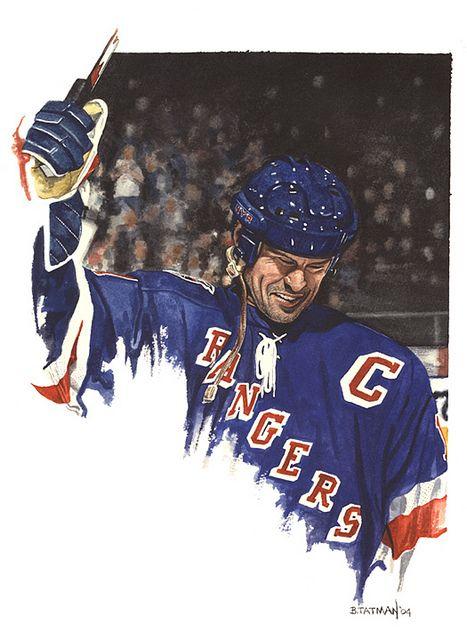 NY Rangers Captain Mark Messier, by artist Bruce Tatman