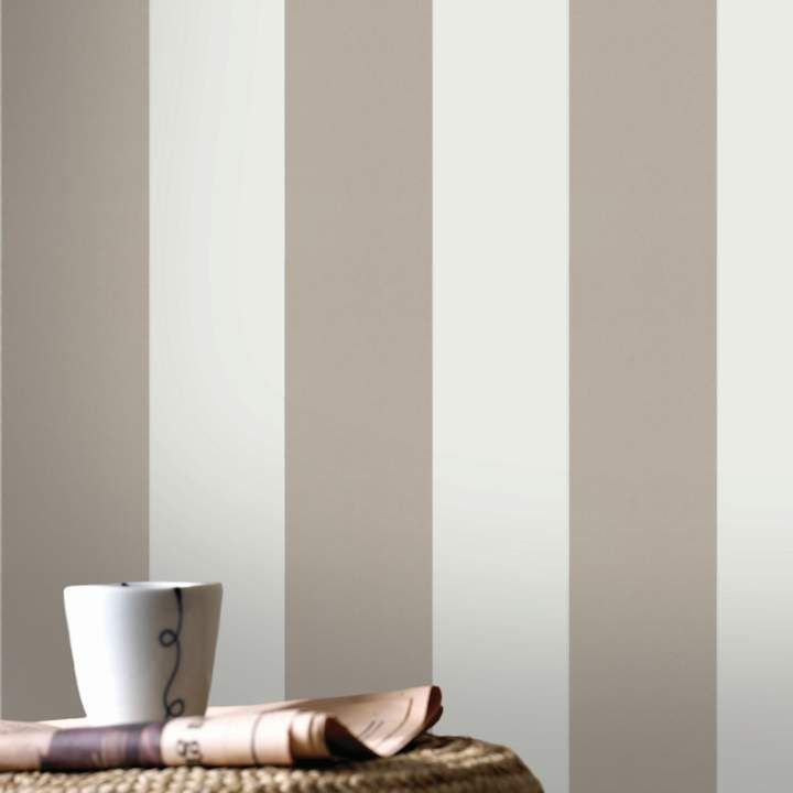 Graham & Brown Taupe Shade Wallpaper. This sophisticated taupe striped wallpaper brings a contemporary twist to a traditional design. Perfect for hanging vertically or horizontally, this textured wallpaper would look great in any room. {affiliate link} #wallpaper #stripedwallpaper
