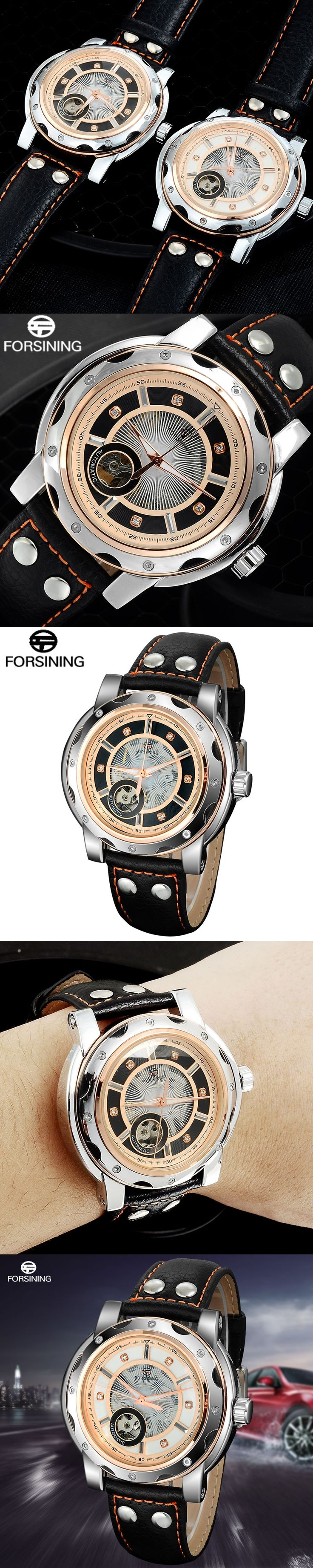 FORSINING brand men sport Watches male Skeleton Mechanical automatic Leather Wrist watch rose gold waterproof relogio masculino