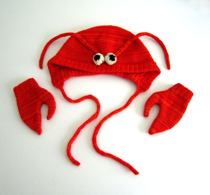Too Cute!  Lobster Hat and Mittens Set by Luna & Curious x The Miniature Knit Shop  #Babies #Lobster_Hat #Luna_&_Curious #The_MIniature_Knit_shop