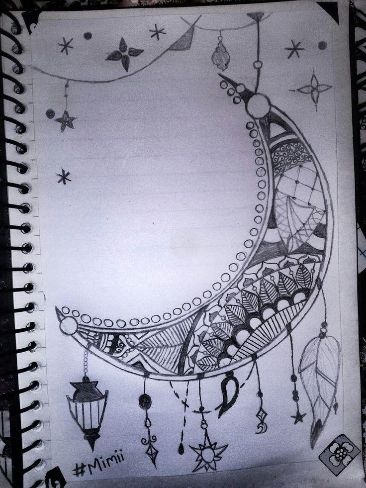 Hello ramadan crescent moon draw black and white diy اهلا ...