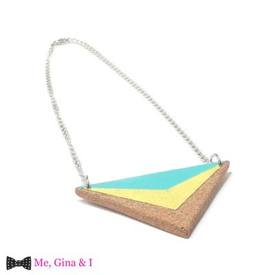 Turquoise & yellow triangular short necklace made of cork.