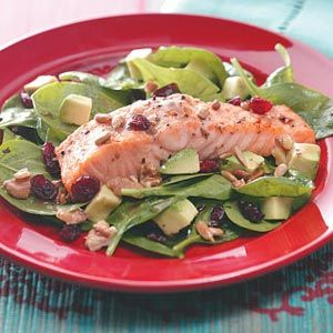 Balsamic-Salmon Spinach Salad Recipe from Taste of Home