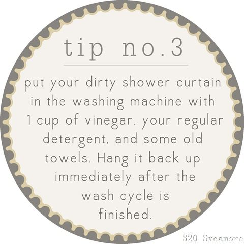 Put your dirty shower curtain in the washing machine with 1 cup of vinegar, your regular detergent, and some old towels.  Hang it back up immediately after the wash cycle is finished.