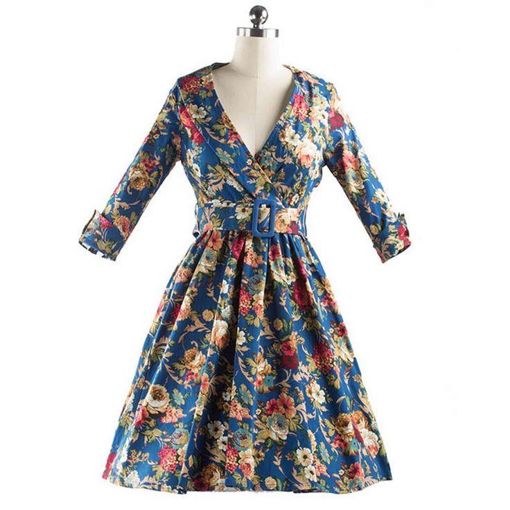 Mulheres elegante vestido de meia manga Floral Vintage Midi Vestidos com cinto 50 s Rockabilly balanço Vestidos Feminino nova em Vestidos de Das mulheres Roupas & Acessórios no AliExpress.com | Alibaba Group
