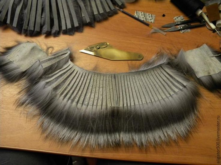 How to sew a fur cap by patches of fur strips (in Russian)
