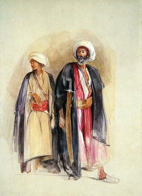 Sheik Hussein of Gebel Tor and His Son, c.1842-43 (w/c, gouache, chalk & graphite on paper) by John Frederick Lewis
