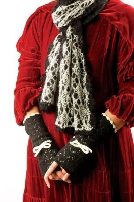 Pointelle Lace Scarf and Fingerless Gloves, around $28 for each set (pink and black), Victorian Trading.