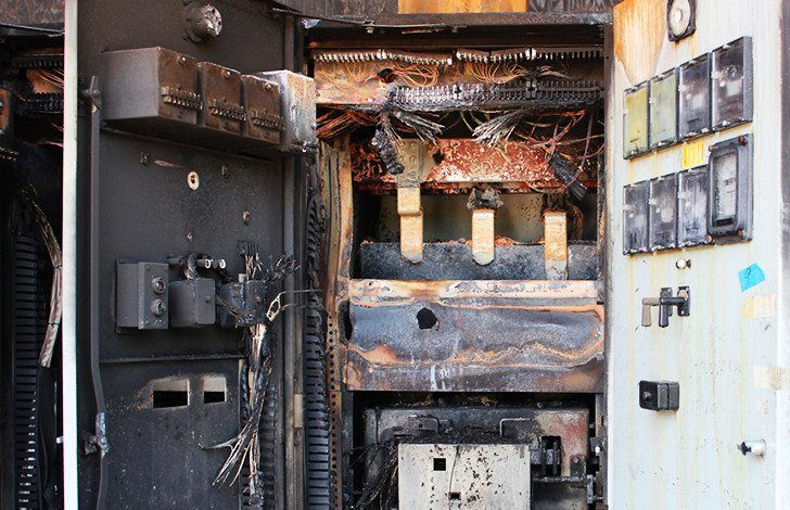 Destroyed low voltage switchboard due to the arc flash