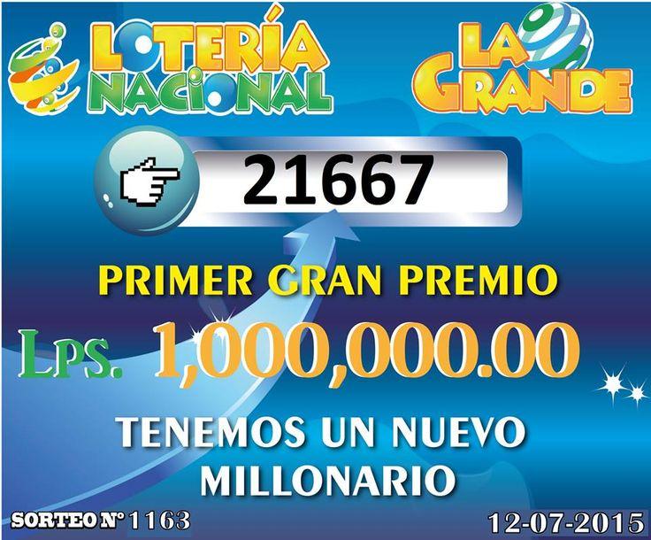 Resultados sorteo Loteria La Grande Nro. 1163 del domingo 12 de Julio 2015.
