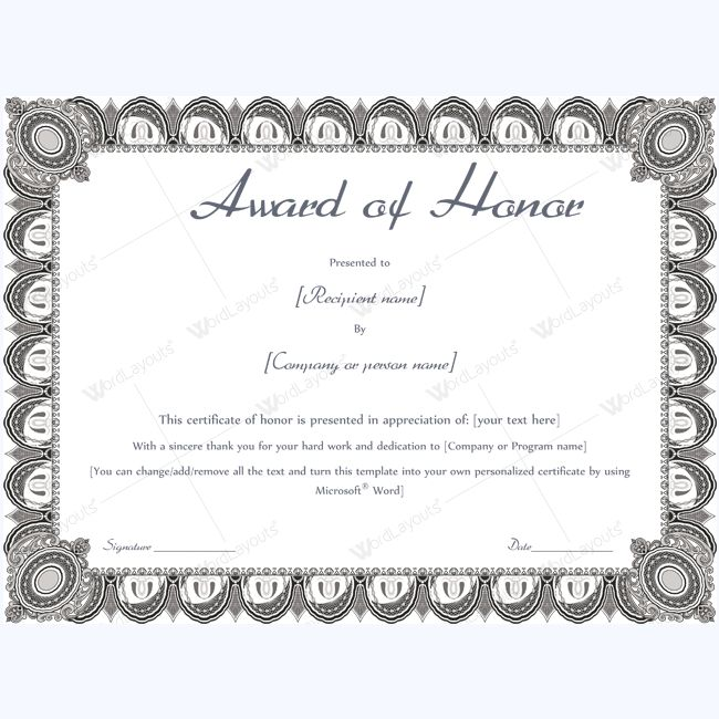 15 best award of honor certificate templates images on Pinterest - certificate template word