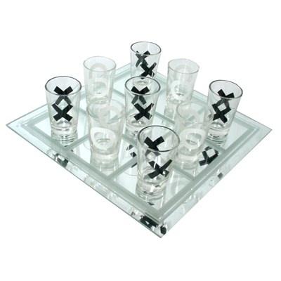 Jogo da velha em vidro   copos decorados 3 tamanhos-R$22.80