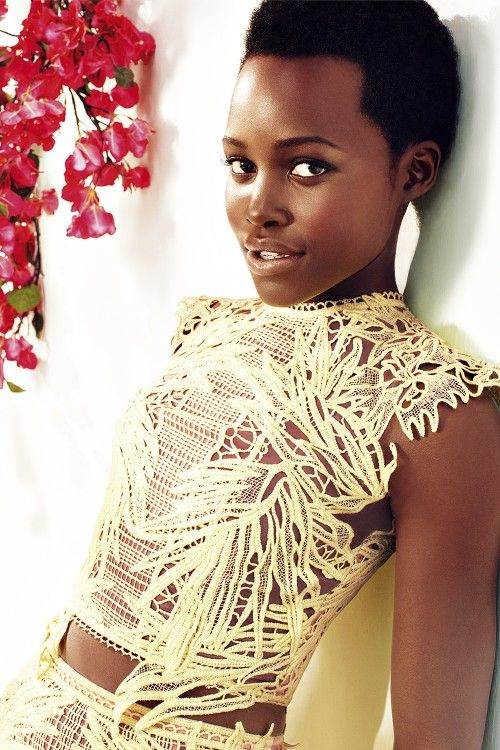 Lupita wears organza silk top and matching top by Erdem
