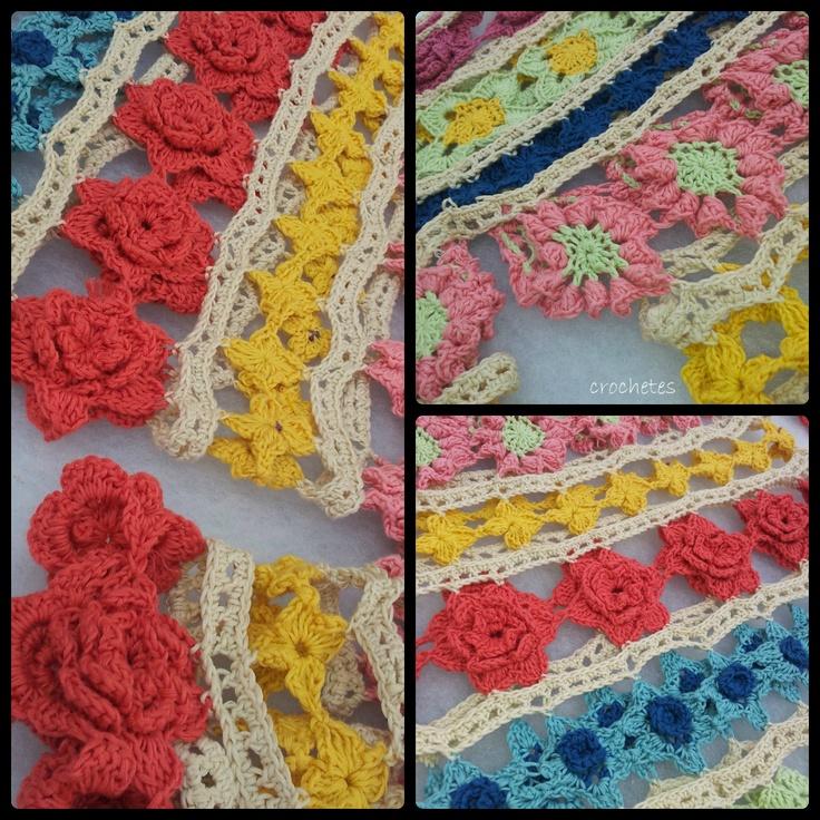 Collage vestido#naturadmc: Crochet Flowers, Color, Flowers Shawl