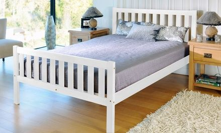These handmade bed frames are made of solid wood with a contemporary look and available in vogue white or classic caramel pine colour