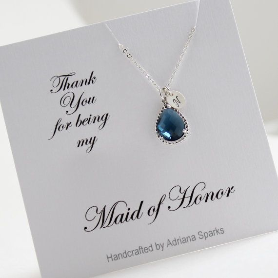 Custom Maid Of Honor Gift Shire Blue Initial Necklace Personalized Bridesmaid