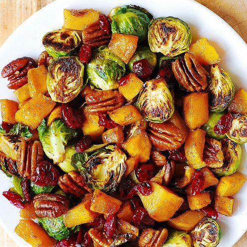 Roasted Brussels Sprouts, Cinnamon Butternut Squash, Pecans, and Cranberries