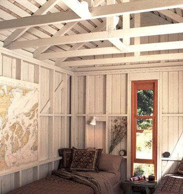 Image result for exposed stud wall open cottage for Exposed roof truss design