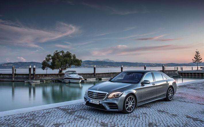 Download imagens Mercedes-Benz S 500, 4k, 2018 carros, W222, carros de luxo, S-classe, Mercedes