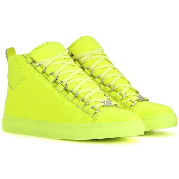 Balenciaga Arena High-Top Leather Sneakers ($595) ❤ liked on Polyvore featuring shoes, sneakers, yellow, balenciaga shoes, hi tops, leather sneakers, leather shoes and yellow shoes