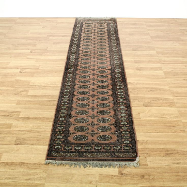 This Hand Tied Rug Is Knotted In A Durable Brown Pink With Neutral Black  And Beige Accents. This Long Runner Rug Has Fringe Edges, Striped Trim And  Floral ...
