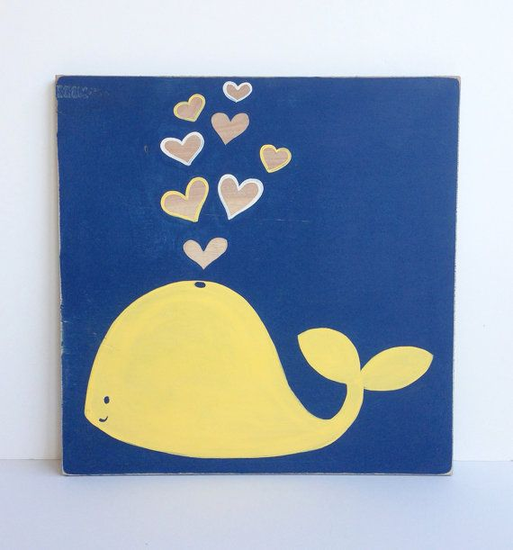 Blue And Yellow Bathroom Decor: Hand Painted Navy Blue And Yellow Nautical Whale Wall Art
