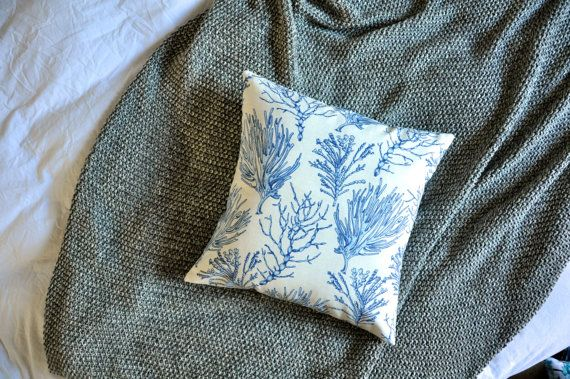 Blue Coral Print Envelope Cushion Cover by trimandthread on Etsy