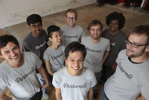 The team members of  Pinterest (left to right, back) Yash Nelapati, Ryan Probasco, Justin Edmund (center) Enid Hwang, Marty Weiner (front) Paul Sciarra, Ben Silbermann and Evan Sharp in the start-up company's new office space.