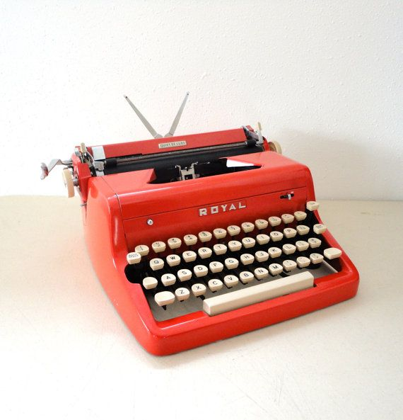 Typewriter Red Royal Quiet De Luxe from the 1950s by KimBuilt~Etsy