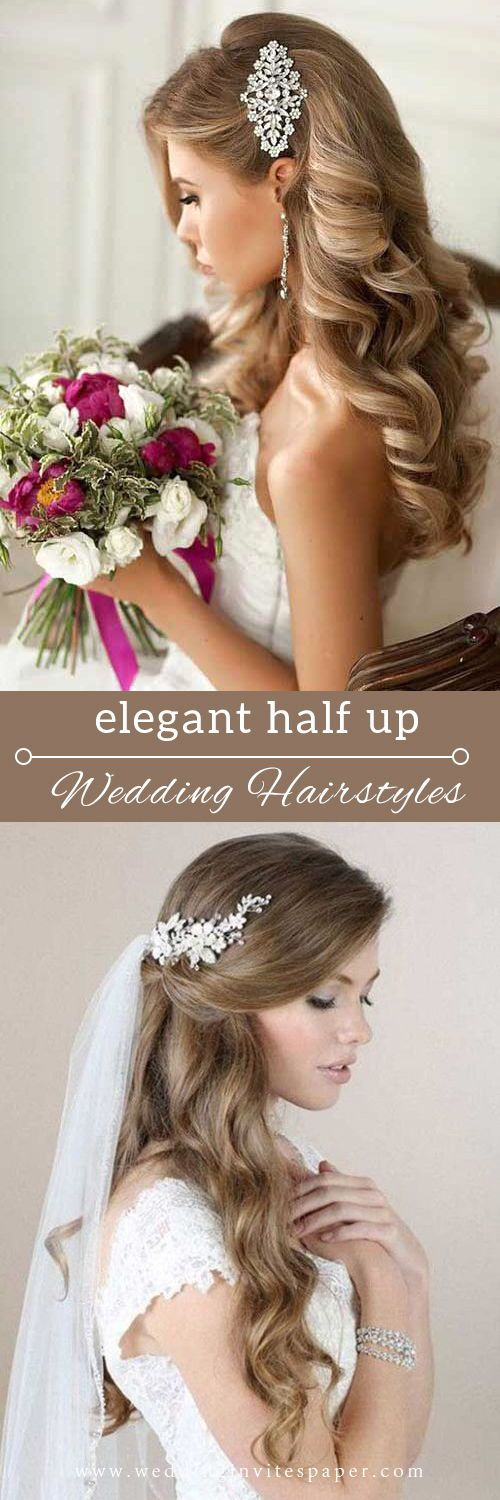 100+ Elegant wedding ideas to wow your guests---halfup hairstyle with classy silver headpiece and veil, gorgeous hairstyle for long hair