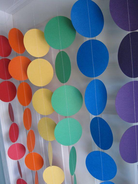 Rainbow Party, Paper Garland, Yo Gabba Gabba Birthday, 1st Birthday, Sesame Street Party, St. Patricks Day, Baby Shower Decorations on Etsy, $36.00