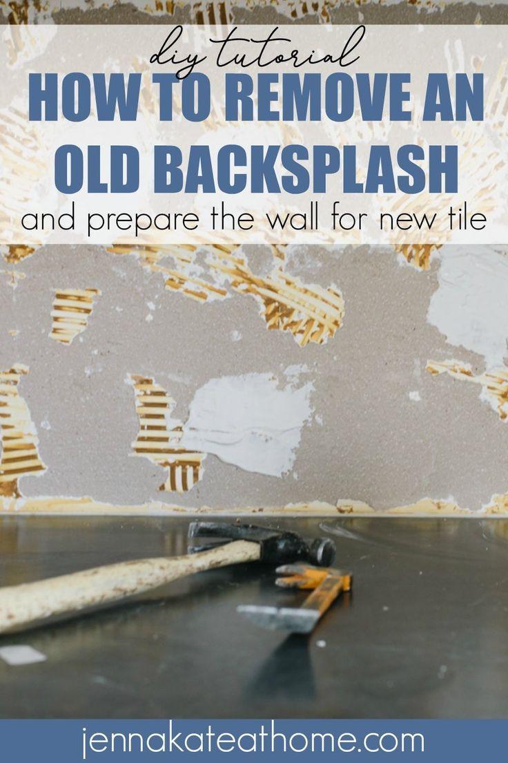 Kitchen Makeover Week 4 Removing The Old Backsplash Window Cleaning Tips Backsplash Remove Tile Backsplash